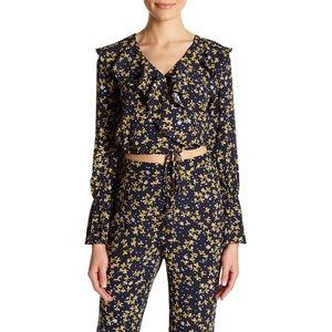 NWT Lucy Paris Kate floral wrap blouse